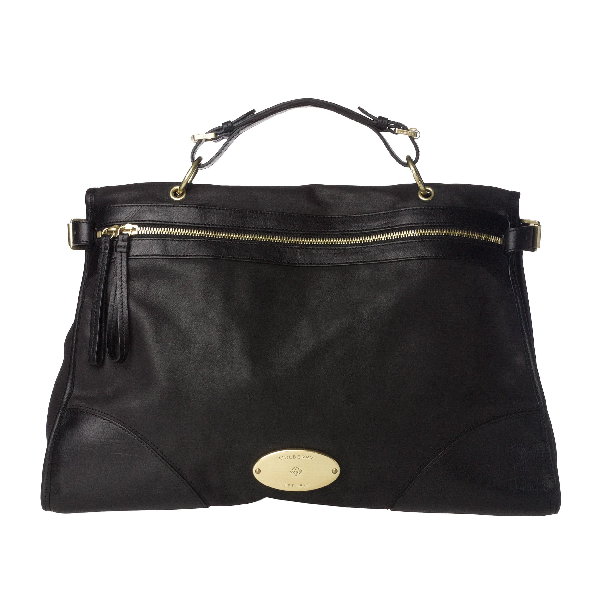Mulberry 'Taylor' Oversized Black Leather Satchel
