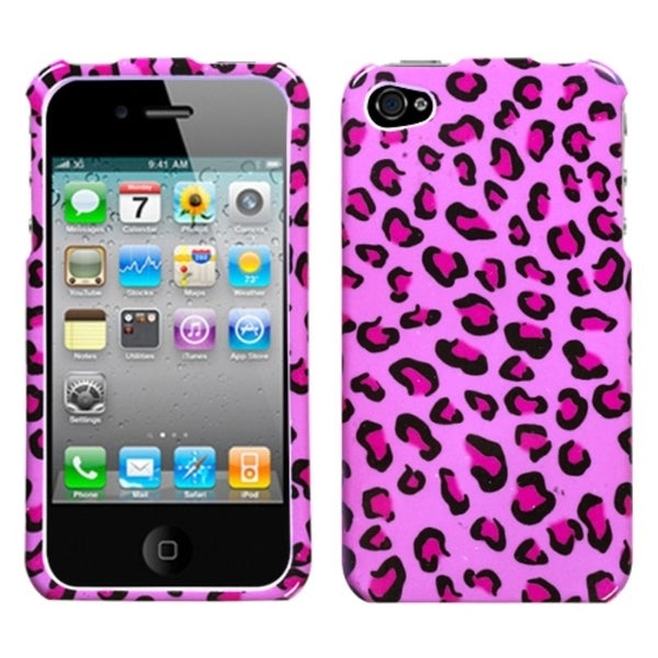 INSTEN Pink Leopard Skin Phone Case Cover for Apple iPhone 4/ 4S