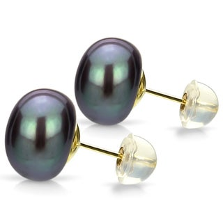 DaVonna 24k Gold-over Sterling Black Freshwater Pearl Stud Earring