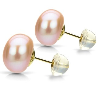 DaVonna 18k Gold over Sterling Pink Freshwater Pearl Stud Earring