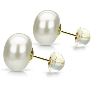 DaVonna 24k Gold over Sterling Silver White Freshwater Pearl Stud Earrings
