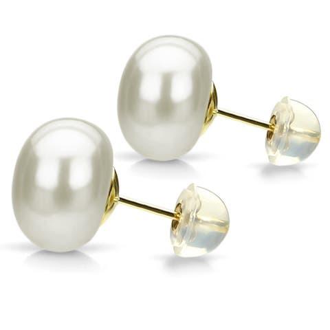 DaVonna 24k Gold over Sterling Silver White Freshwater Pearl Stud Earrings