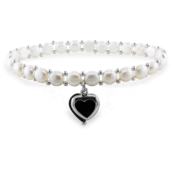 Miadora Sterling Silver Freshwater White Pearl and Onyx Bracelet