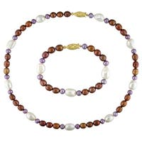 Miadora Set of Multi-color Cultured Freshwater Pearl Bracelet and Necklace (5-10 mm)