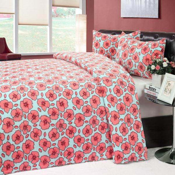 Blossom Microplush Blanket and 2-piece Sham Set