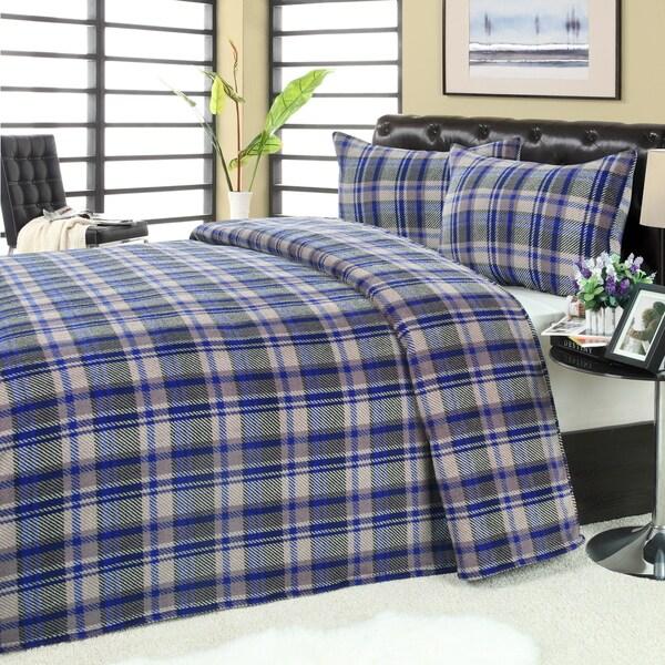 Blue/ Grey Plaid Microplush Blanket 2-piece Sham Set
