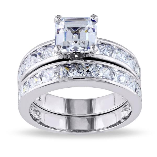 Miadora Sterling Silver Cubic Zirconia Bridal Set Ring