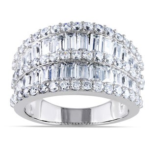 Miadora Sterling Silver Channel-set Cubic Zirconia Anniversary Ring