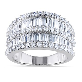 Miadora Sterling Silver Channel-set Cubic Zirconia Anniversary Ring (4 options available)