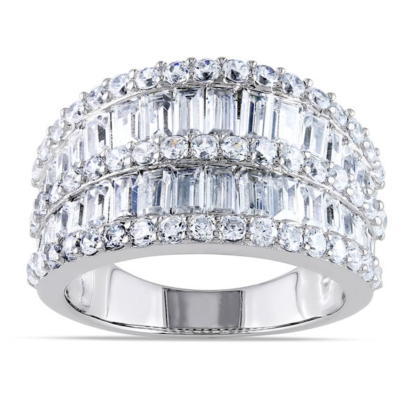 Miadora Sterling Silver Channel-set Cubic Zirconia Anniversary Ring. Opens flyout.