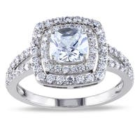 Miadora Sterling Silver 3ct TGW Cushion-cut Cubic Zirconia Split Shank Double Halo Engagement Ring