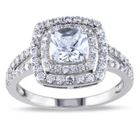 Miadora Sterling Silver 3ct Tgw Cushion Cut Cubic Zirconia Split Shank Double Halo Engagement Ring