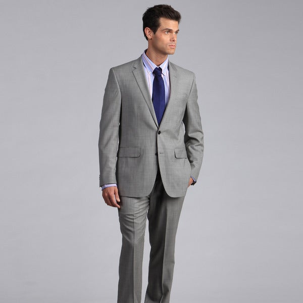 Ike by Ike Behar Men's Light Grey 2-button Wool Suit - Free ...