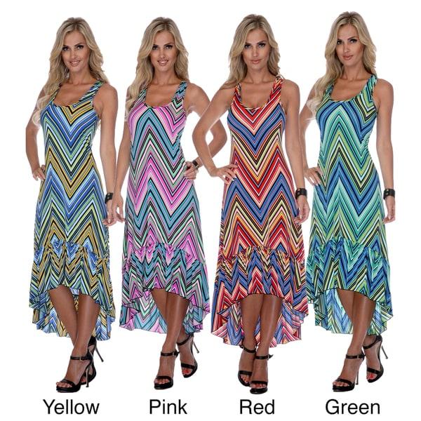 White Mark Women's 'Martina' Zig-zag Dress