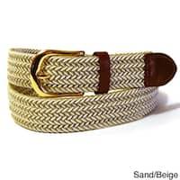 Men's Twin Color Leather Nylon Stretch Belt