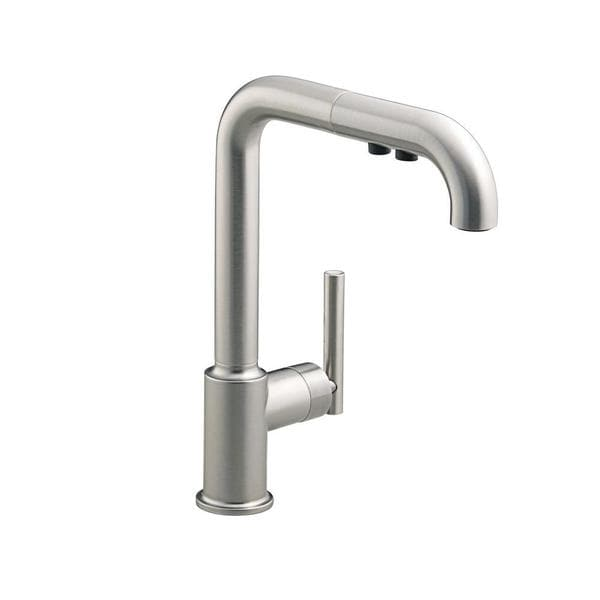vibrant kohler down arise these bargains kitchen faucet handle check on pull stainless shop out