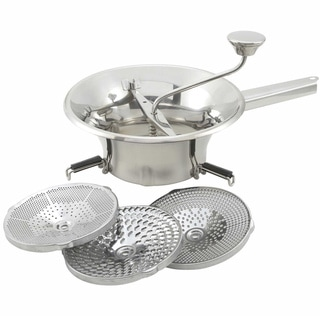 """FortheChef 2 Qt. Stainless Steel Food Mill with 3 Graters, 9"""" Diameter"""