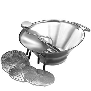 """""""FortheChef 5 Qt. Professional Stainless Steel Food Mill with 5 Graters, 12-3/4"""""""" Diameter """""""