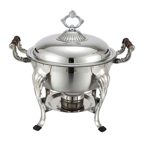 forthechef hamilton 5 qt round stainless steel chafer