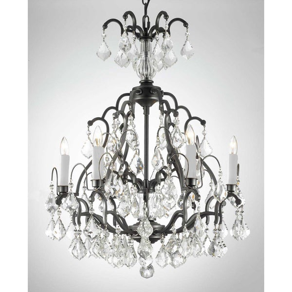 Gallery Versailles 6-light Wrought Iron Crystal Chandelier