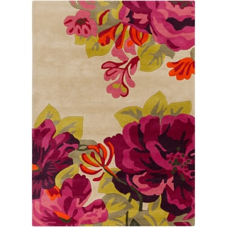 Hand-tufted Pink Contemporary Floral Rug (2' x 3')