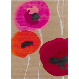 Hand-tufted Poppies Contemporary Floral Rug (2' x 3')