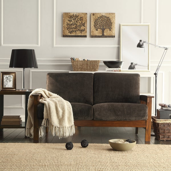TRIBECCA HOME Mission Dark Brown Champion Fabric Loveseat