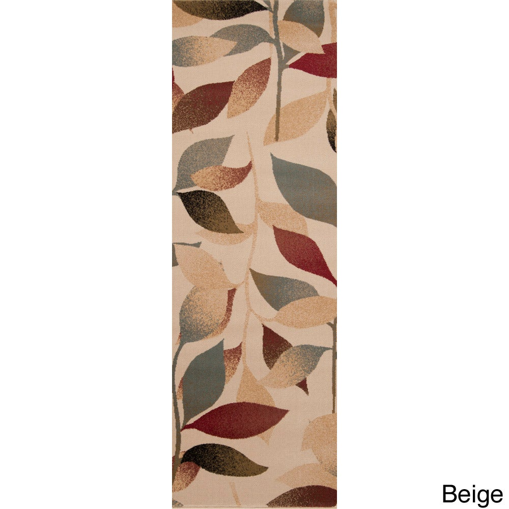 Woven Daisy Floral Rug (3' x 8') (Beige-(3' x 8')), Brown...