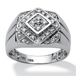Men's 1/4 TCW Round Diamond Platinum over Sterling Silver Classic Ring
