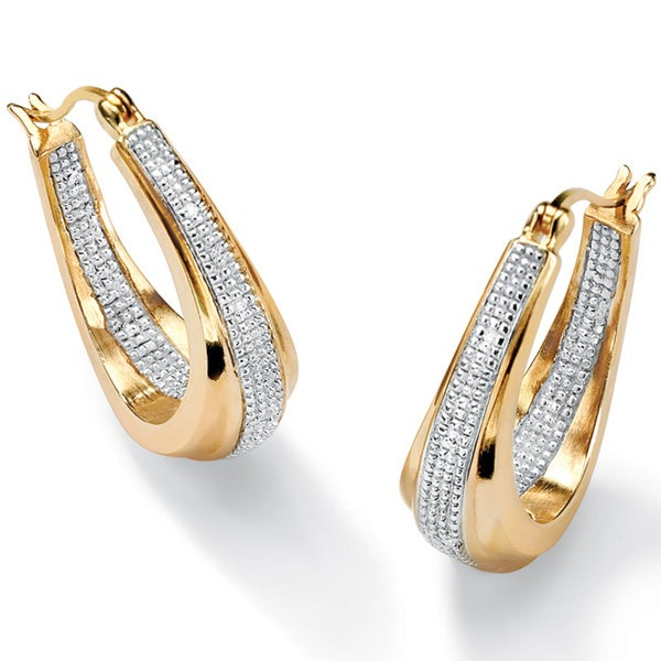 14k Yellow Goldplated Diamond Accent Inside-Out Oval Hoop Beaded Earrings