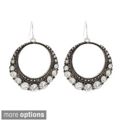 NEXTE Jewelry Silvertone White Rhinestone Loop Dangle Earrings