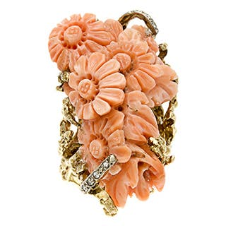 Pre-owned 14k Gold Carved Coral and 1/5ct TDW Diamond Estate Ring (J-K, SI1-SI2)|https://ak1.ostkcdn.com/images/products/8002855/P15368667.jpg?impolicy=medium