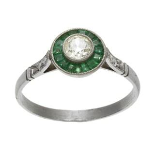 Platinum 1/4ct TDW Diamond and Emerald Estate Ring (L-M, SI1-SI2)