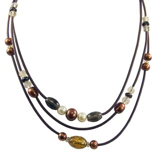 Pearls For You Silver FW Pearl and Multi-gemstone Necklace (6-10 mm)