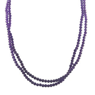 Gems For You Sterling Silver Amethyst Bead 2-strand Necklace