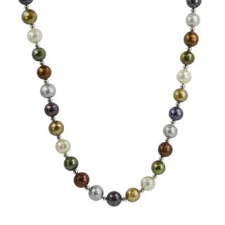 Pearls For You Silver Multi-colored FW Pearl Necklace (8.5-9.5 mm)
