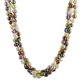 Pearls For You Silver Multi-colored FW Pearl Twist Necklace (6.5-8 mm)