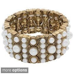 NEXTE Jewelry Goldtone and Faux Pearl or Silvertone and Rhinestone Bracelet