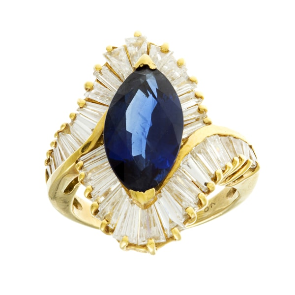 Pre-owned 18k Gold Sapphire and 3 1/2ct TDW Diamond Ballerina Estate Ring (G-H, VS1-VS2)