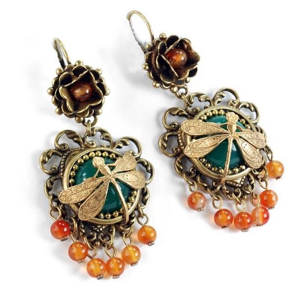 Sweet Romance Vintage Dragonfly Glass Carnelian Fringe Boho Earrings
