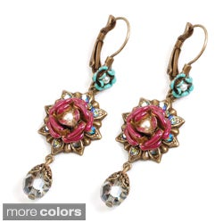 Sweet Romance Enamel Rose Mexico Dangle Earrings