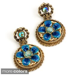 Sweet Romance Bronzetone Enamel and Crystal Flower Earrings