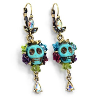 Sweet Romance Turquoise Sugar Skull and Flowers Day of the Dead Earrings (5 options available)