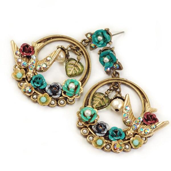 Sweet Romance Bird and Flower Hoop Earrings