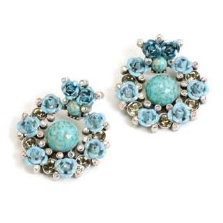 Sweet Romance Turquoise Rose Silver Statement Earrings