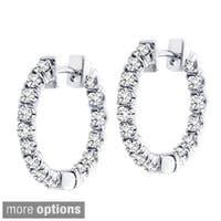 14k Gold 1 1/2ct TDW Diamond Inside-out Hoop Earrings