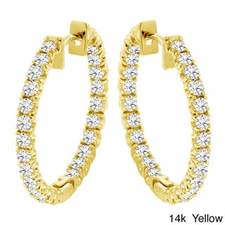 14k Gold 2 1/2ct TDW Diamond Inside-out Hoop Earrings (G-H, SI1-SI2)