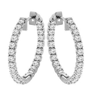 14k Gold 2 1/2ct TDW Diamond Inside-out Hoop Earrings