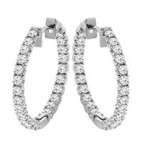 14k Gold 2 1/2ct TDW Diamond Inside-out Hoop Earrings