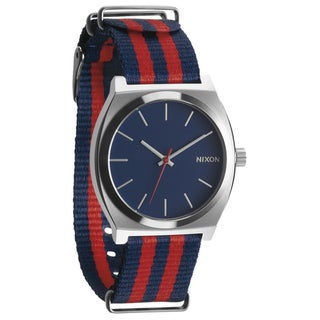 Nixon Men's Time Teller Navy and Red Nylon Strap Watch